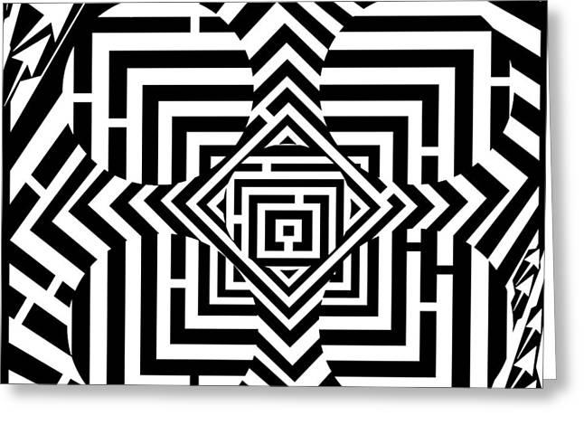 Pentagram Art Greeting Cards - Penta Spheres Maze  Greeting Card by Yonatan Frimer Maze Artist