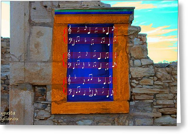 Pentagram Art Greeting Cards - Pentagram Window at Apollo Greeting Card by Augusta Stylianou