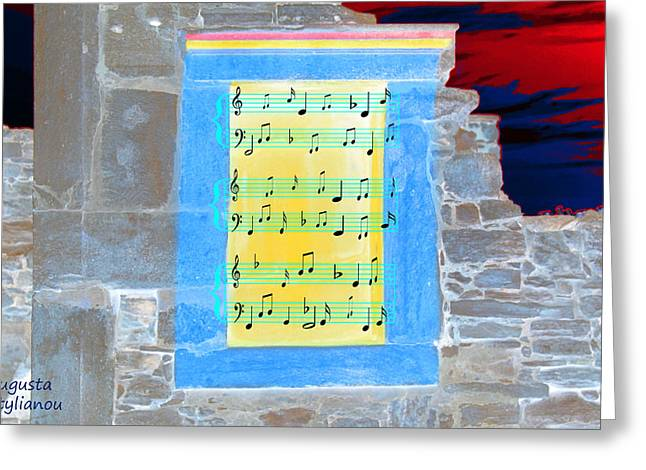 Pentagram Art Greeting Cards - Pentagram Window at Apollo Sactuary Greeting Card by Augusta Stylianou