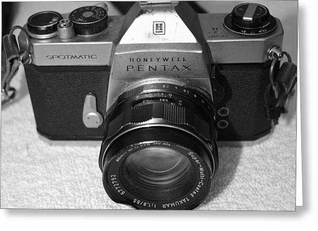 Camera Pyrography Greeting Cards - Pentax Honeywell 35mm Camera Greeting Card by DUG Harpster