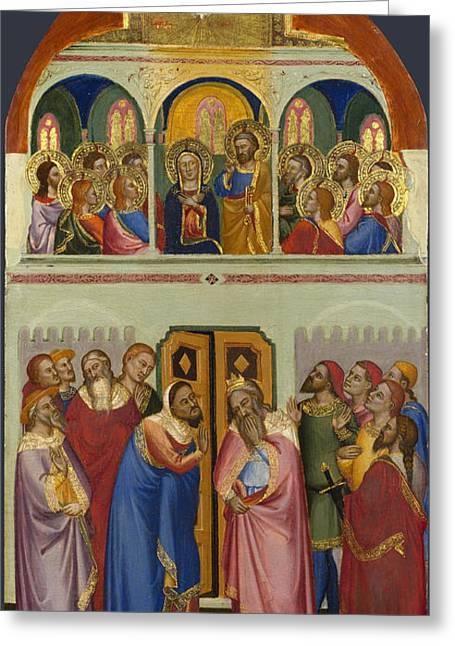 Pentecost Greeting Cards - Pentecost Greeting Card by Jacopo di Cione and Workshop