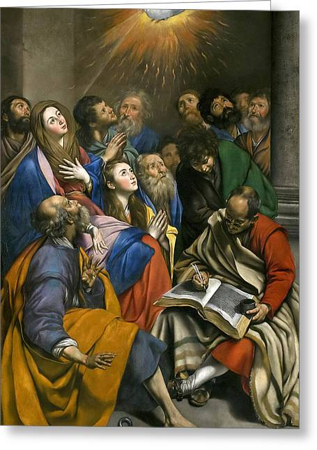 Pentecost Paintings Greeting Cards - Pentecost Greeting Card by Juan Bautista Maino