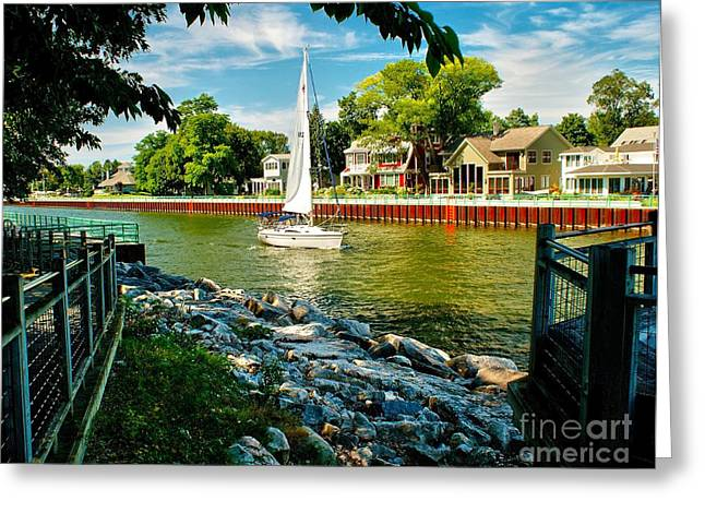 Boat Cruise Greeting Cards - Pentwater Channel Michigan Greeting Card by Nick Zelinsky