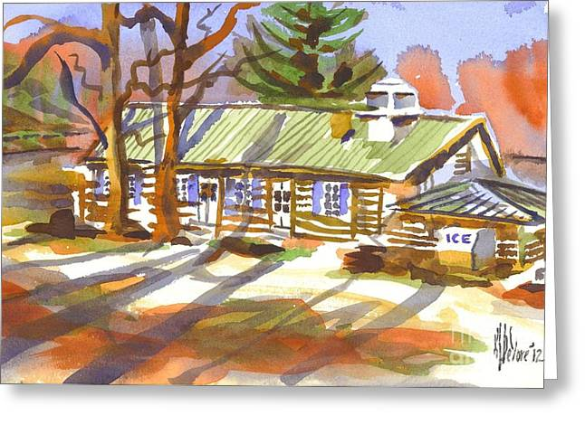 Log Cabins Greeting Cards - Penuel Lodge in Winter Sunlight Greeting Card by Kip DeVore