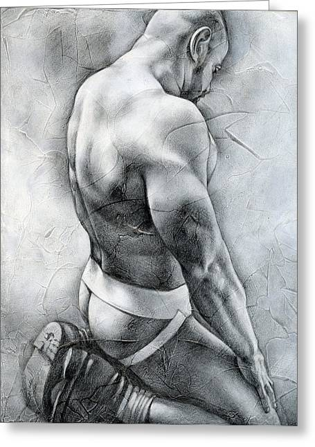 Erotic Male Drawings Greeting Cards - Penumbra Greeting Card by Chris  Lopez