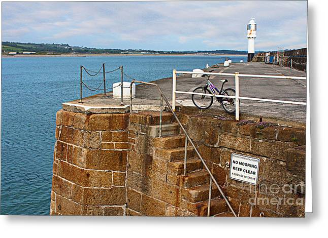 Terri Waters Greeting Cards - Penzance Quay Lighthouse Greeting Card by Terri  Waters