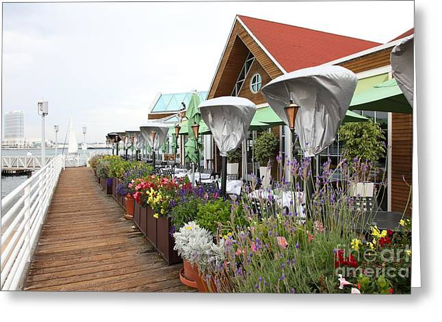 Coronado Harbor Greeting Cards - Peohes Restaurant In Coronado California 5D24358 Greeting Card by Wingsdomain Art and Photography
