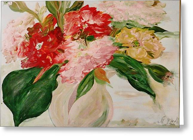 Steal Prints Greeting Cards - Peonies and a Snake Greeting Card by Marina R Vladis