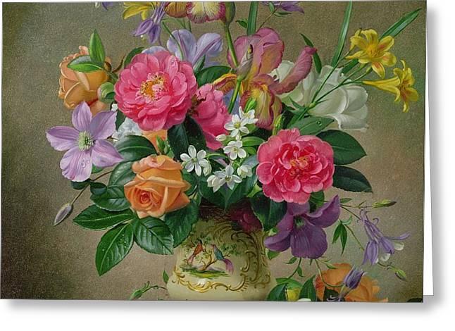 Peonies and irises in a ceramic vase Greeting Card by Albert Williams