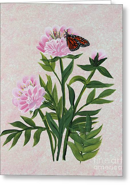 Green Barbara Griffin Art Greeting Cards - Peonies and Monarch Butterfly Greeting Card by Barbara Griffin