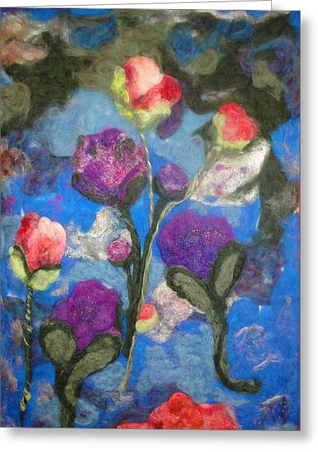 Whimsical Tapestries - Textiles Greeting Cards - Peonies and Poppies 2 Greeting Card by Shakti Chionis