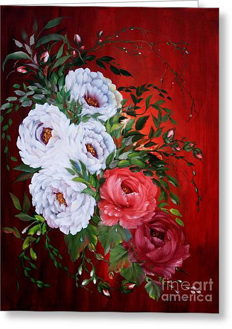 Flower Still Life Prints Greeting Cards - Peonies and Roses Greeting Card by  ILONA ANITA TIGGES - GOETZE  ART and Photography