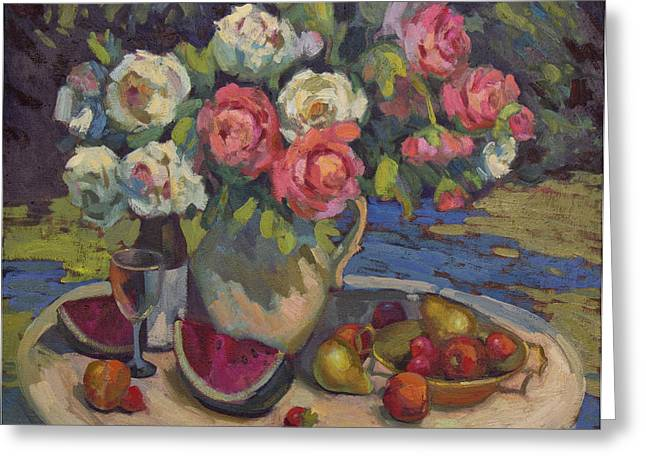Watermelon Greeting Cards - Peonies and Summer Fruit Greeting Card by Diane McClary