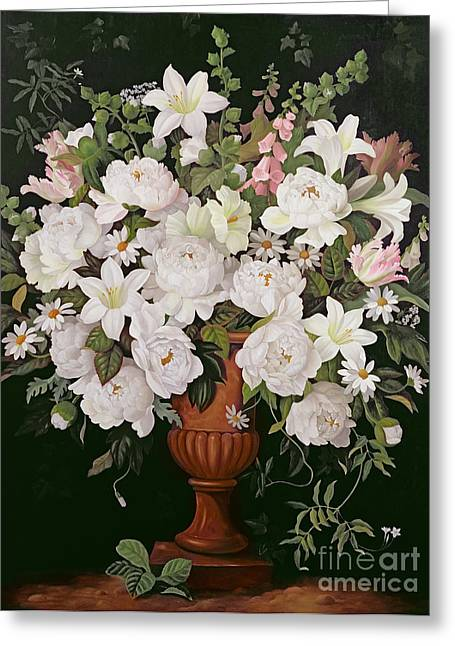 Foxglove Flowers Paintings Greeting Cards - Peonies and Wisteria Greeting Card by Lizzie Riches