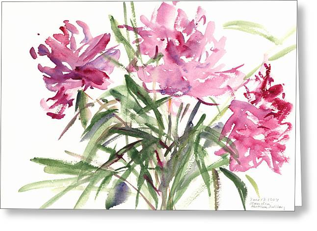 Peony Art Greeting Cards - Peonies Greeting Card by Claudia Hutchins-Puechavy
