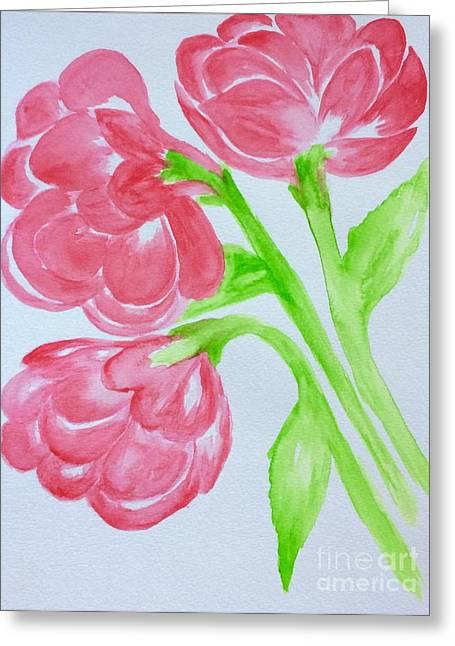 Watercolors Greeting Cards - Peonies  Greeting Card by Gail Nandlal