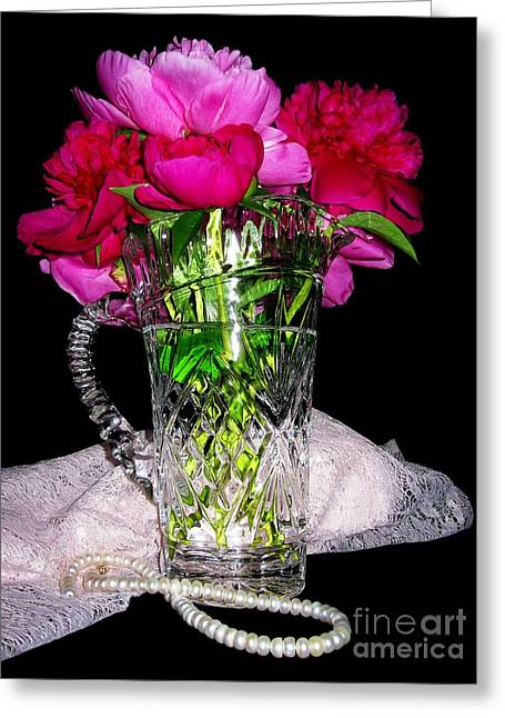 Old Pitcher Greeting Cards - Peonies Pearls Lace Crystal 2 Greeting Card by Margaret Newcomb