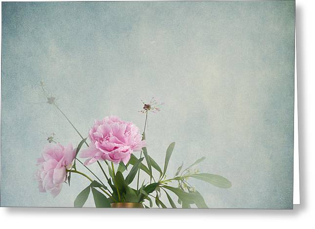 Decorativ Photographs Greeting Cards - Peonies still life Greeting Card by Artskratches