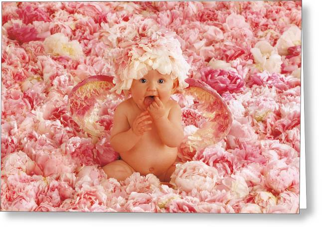 Best Sellers -  - Flower Pink Fairy Child Greeting Cards - Peony Angel Greeting Card by Anne Geddes