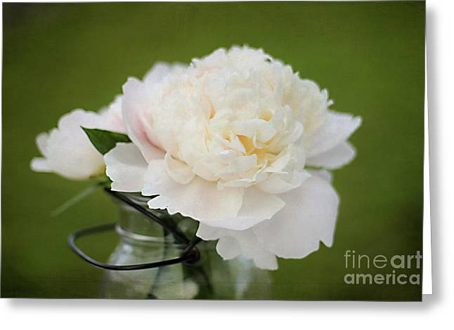 Mason Jars Greeting Cards - Peony Greeting Card by Darren Fisher