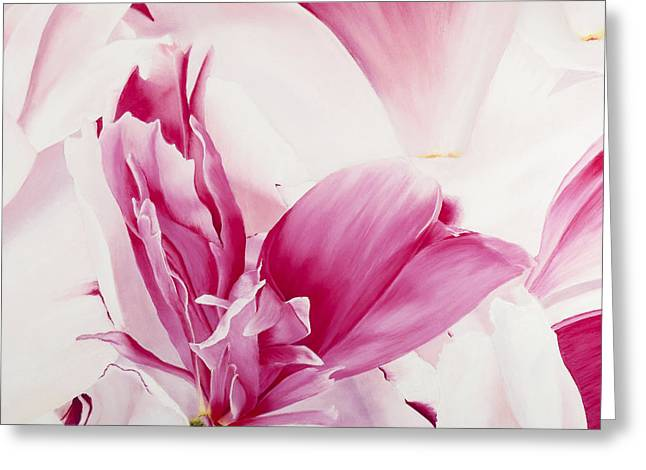 Rose Petals Pastels Greeting Cards - Peony Deconstructed Greeting Card by Paul Riccardi