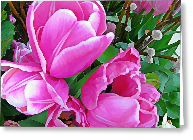Hot Pink Custom Greeting Cards - Peony Flowering Tulips Greeting Card by Anne Sterling