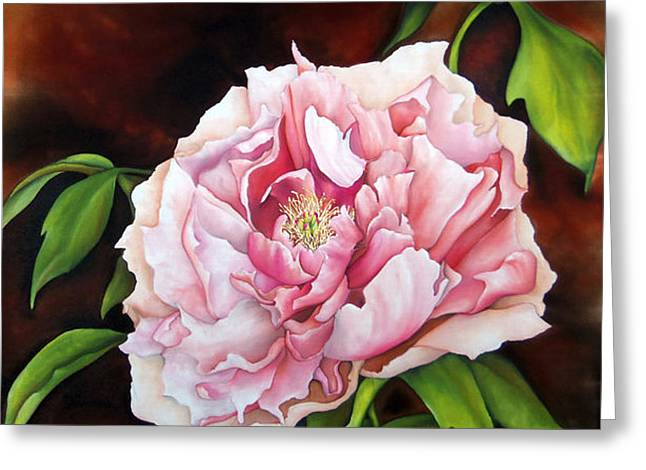 Squared Tapestries - Textiles Greeting Cards - Peony Garden Greeting Card by Tina Gleave
