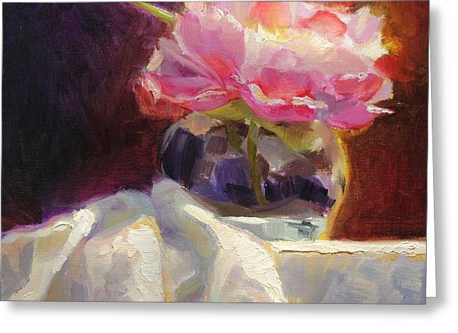 White Cloth Greeting Cards - Peony Glow - Square Still Life Greeting Card by Karen Whitworth