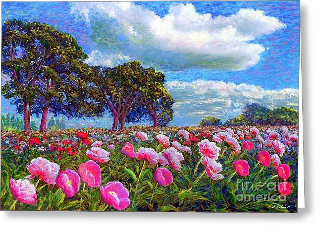 Pink Blossoms Greeting Cards - Peony Heaven Greeting Card by Jane Small