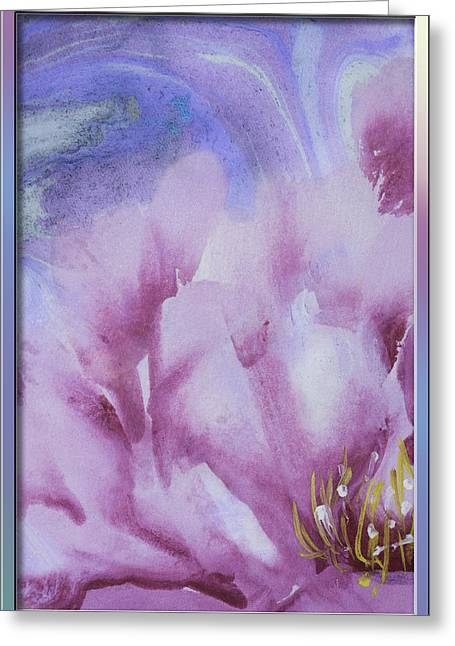 Blank Greeting Cards Mixed Media Greeting Cards - Peony ink brush painting Greeting Card by Peter v Quenter