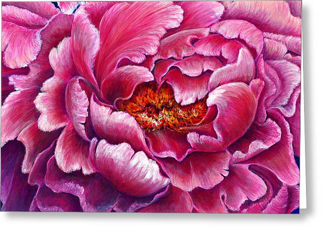 Bucci Paintings Greeting Cards - Peony Pink Greeting Card by Debra Bucci