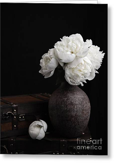 Luggages Greeting Cards - Peony Still Life Greeting Card by Edward Fielding