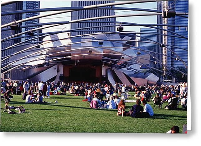 Concert Images Greeting Cards - People At A Lawn, Pritzker Pavilion Greeting Card by Panoramic Images