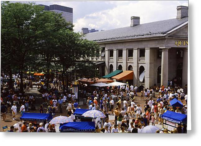 Faneuil Hall Greeting Cards - People At A Market, Quincy Market Greeting Card by Panoramic Images