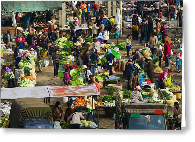 People At A Traditional Town Market Greeting Card by Panoramic Images