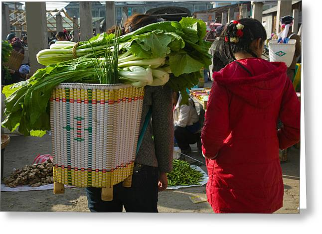 People At A Vegetable Market, Xizhou Greeting Card by Panoramic Images