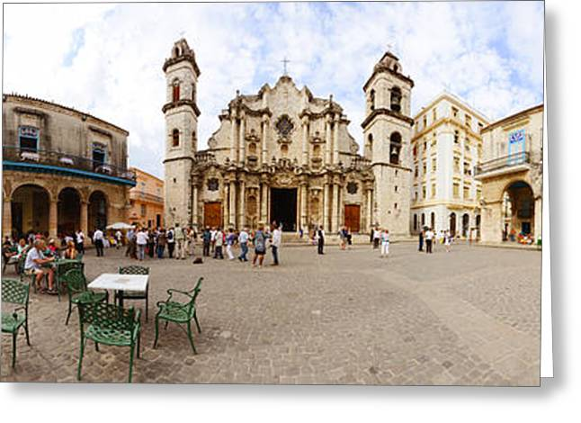 Town Square Greeting Cards - People At Plaza De La Catedral Greeting Card by Panoramic Images