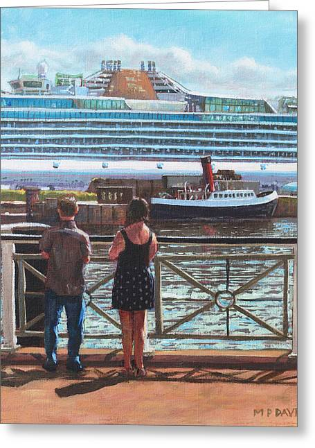 Cruise Terminal Greeting Cards - People at Southampton Eastern Docks viewing ship Greeting Card by Martin Davey