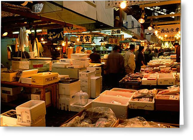 Fish Market Greeting Cards - People Buying Fish In A Fish Market Greeting Card by Panoramic Images