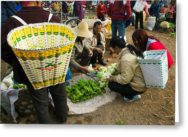 Chinese Market Greeting Cards - People Buying Vegetables Greeting Card by Panoramic Images