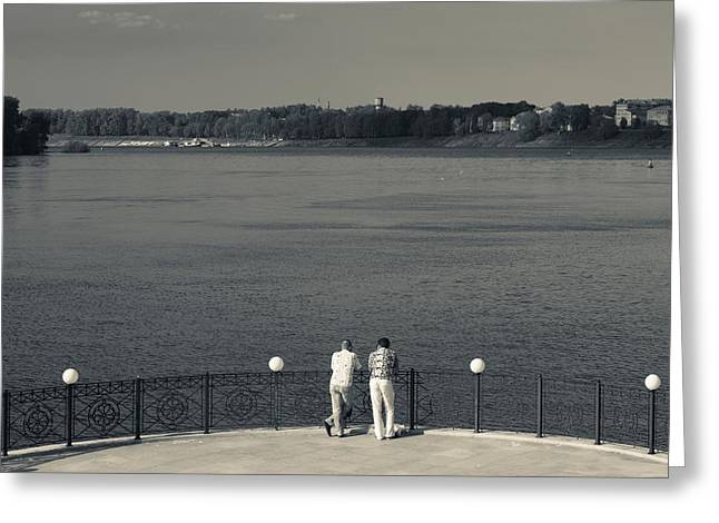 Looking At View Greeting Cards - People By The Volga River, Uglich Greeting Card by Panoramic Images
