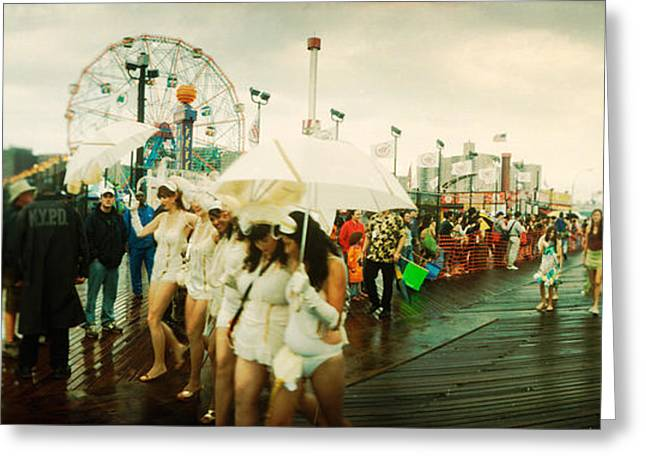 Coney Island Greeting Cards - People Celebrating In Coney Island Greeting Card by Panoramic Images