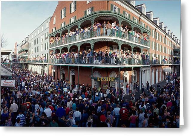 Louisiana Greeting Cards - People Celebrating Mardi Gras Festival Greeting Card by Panoramic Images