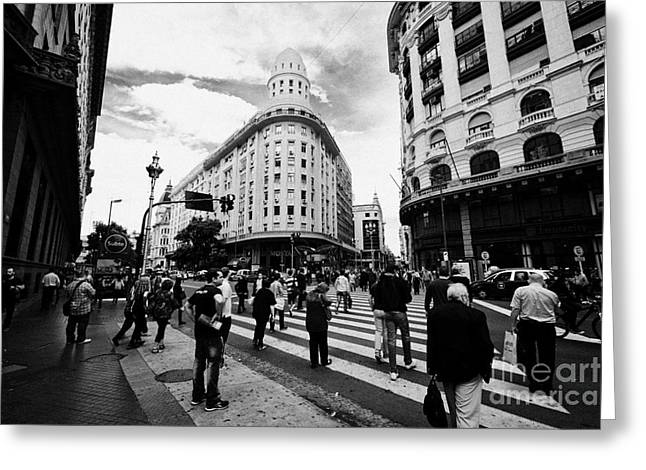 Edificios Greeting Cards - people crossing calle florida Edificio Bencich and south end of florida street downtown Buenos Aires Greeting Card by Joe Fox