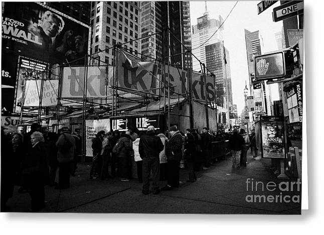 Manhatan Greeting Cards - people customers queuing outside the tickets TKTS booth in times square new york city Greeting Card by Joe Fox