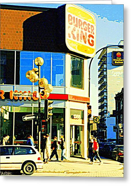 Ste Catherine Greeting Cards - People Enjoy Beautiful Downtown Sainte Catherine Burger King Peel Scene By Hotel Comfort Suites Greeting Card by Carole Spandau