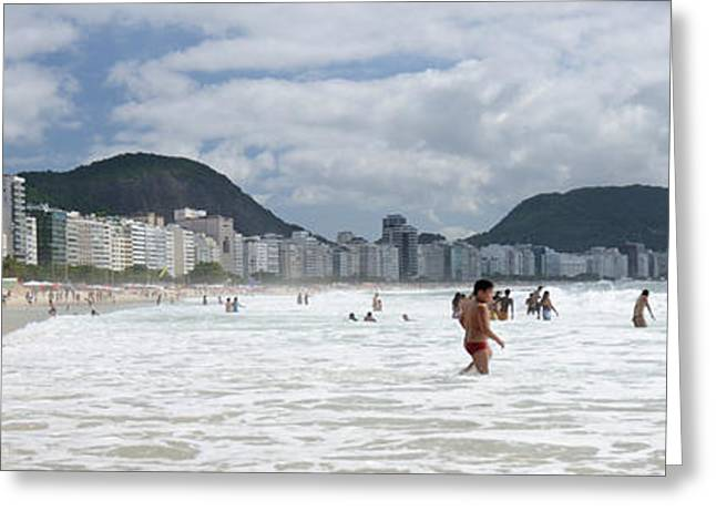 Surf City Greeting Cards - People Enjoying On Copacabana Beach Greeting Card by Panoramic Images