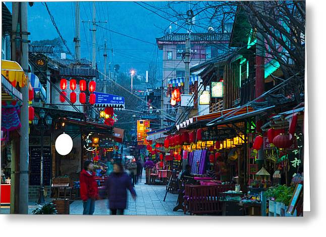 Chinese Market Greeting Cards - People In A Market At The Backpacker Greeting Card by Panoramic Images