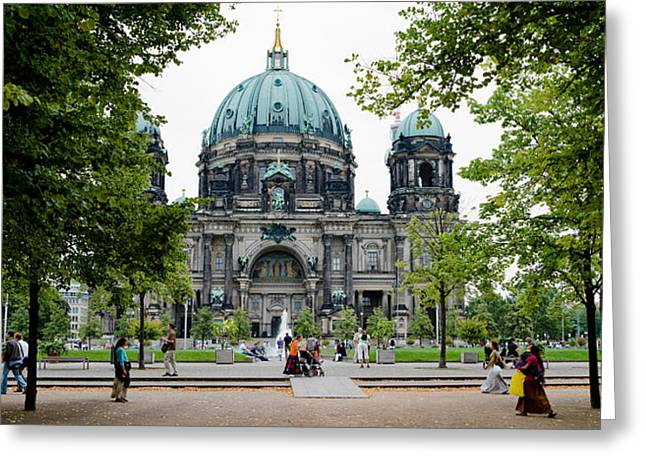 Berlin Cathedral Greeting Cards - People In A Park In Front Greeting Card by Panoramic Images