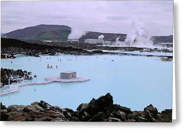 Hot Spring Greeting Cards - People In The Hot Spring, Blue Lagoon Greeting Card by Panoramic Images